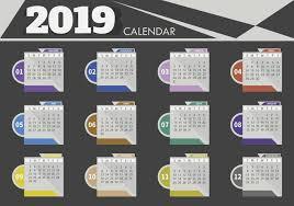 design template of desk calendar 2019