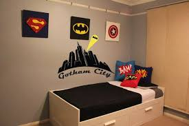 simple kids bedroom. Plain Bedroom Simple Kids Bedroom With Superhero Wall Decor And Pillow Cover R