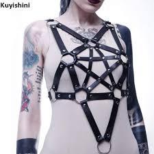 punk gothic men women uni star pentagram pu leather harness case belts underbust sculpting chest straps malaysia