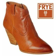 frye women s reina ankle leather booties short cognac brown 7 5