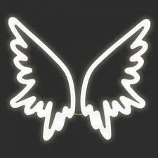 neon light guardian angel wings