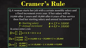 linear equation in two variables cramer s rule algebra math letstute