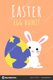 easter egg hunt template happy easter greeting card bunny easter egg easter egg hunt stock