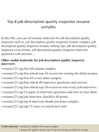 Quality Inspector Resume Beauteous Top 40 Job Description Quality Inspector Resume Samples