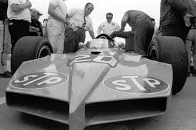 mr granatelli in tie examined his latest car at the indianapolis motor sdway