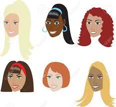 ベクトル イラスト編むやかつらの女性の多様なセットなど6 種類の髪の