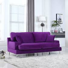 Purple Living Room Furniture Amazoncom Ultra Modern Plush Velvet Living Room Sofa Purple