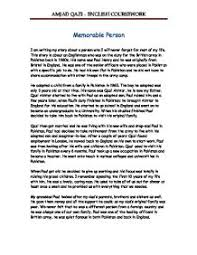 memorable person gcse english marked by teachers com page 1 zoom in