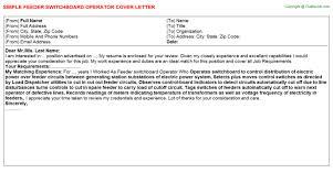 ... Operator Job Description Feeder switchboard Operator Cover Letter Cover  Letter for Switchboard Operator Control tower radio Operator Resume Sample