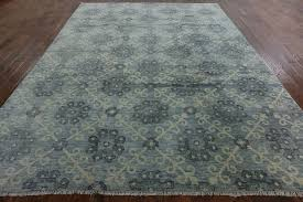 turkish knotted 9x12 double knotted blue oushak wool hand knotted area rug h8263 traditional area rugs by manhattan rugs