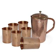copper water pitcher jug 1600 ml 54 oz 6 glasses set high quality for drinking water indian ayurveda health benefits