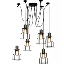 lighting cage. Spider Hanging Pendant Lights With Cage - Black Lighting