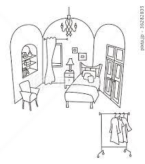 女性の部屋 線画 背景透過のイラスト素材 36282835 Pixta