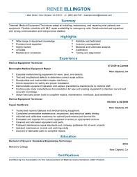 Medical Equipment Technician resume example