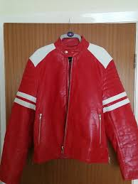 medium red leather jacket in style of fight club