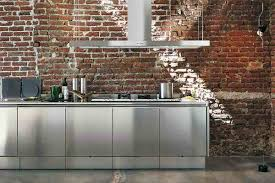 Kitchen:Stainless Steel Kitchen Cabinets And Chimney In Cool Kitchen Idea  With Retro Exposed Brick
