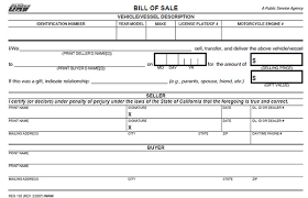 Dmv Ca Bill Of Sale California Bill Of Sale Form