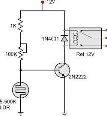 light dark activated relay as light falls on the surface of the ldr the ldr changes it s resistance the more the light the less the resistance of the ldr the less the resistance