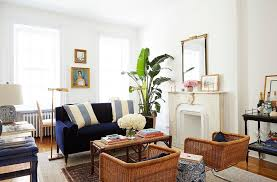 nyc apartment furniture. Amy-Stone-NYC-Apartment-Blue-Velvet-Setee-Rattan- Nyc Apartment Furniture