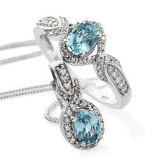 cambodian blue zircon cambodian zircon platinum over sterling silver ring size 8 and pendant with chain 20 in tgw 3 10 cts