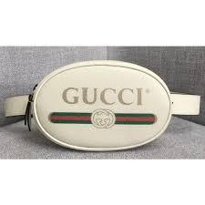 gucci print leather vintage logo belt bag 476434 white 2018