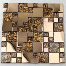 gold glass mosaic tile backsplash stainless steel with base metal and clear crystal tiles