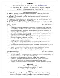 Sample Resume For Retail Manager Position