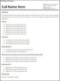 Employment Resume   free excel templates
