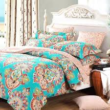 teal blue pink and red baroque style bohemian chic tribal print pattern full queen size bedding