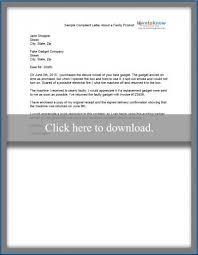 sample complaint letter sample complaint letter about faulty product