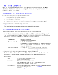 Thesis Essay Example Writing Effective Thesis Statements For Essays Online Thesis