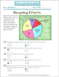 Recycling Efforts Math Circle Graph Printable Skills Sheets