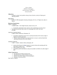 Resume Preschool Teacher Assistant Resume For Assistant Teacher