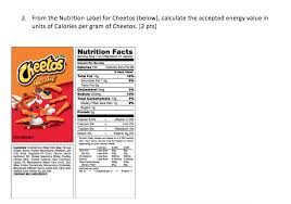 from the nutrition label for cheetos below calculate the accepted energy