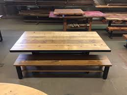 shreck wood dining table and steel base