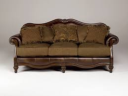 Traditional Furniture Living Room Claremore Traditional Antique Fabric Sofa Wpillow Back For