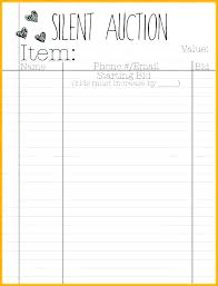 auction bid sheet template free free silent auction bid sheet templates word excel a