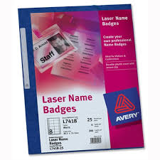 Avery Name Badge Kit Laser W86 5xh55 5mm L7418 25 Sheets