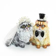 Persian Cat Wedding Cake Toppers Clay Sculpted Figurine
