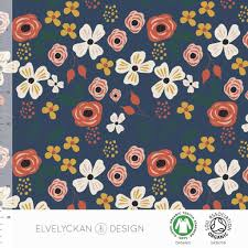 Elvelyckan Design Us Organic Jersey Fabric Meadow In Dark Blue By Elvelyckan