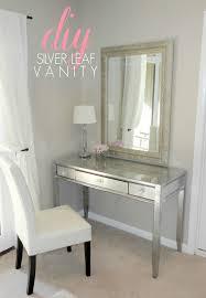 diy thrift desk makeover using silver leaf