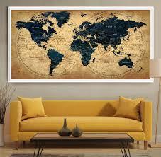 decorative extra large world map push pin travel wall art