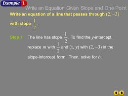 example 4 1a write an equation of a line that p through 2