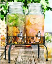 twin ice cold glass mason drink dispensers