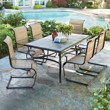 hton bay belleville 7 piece padded sling outdoor dining set in mesmerizing patio dining table for