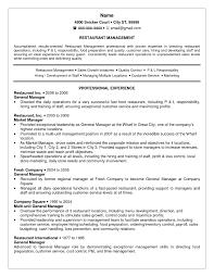 Resume Template Restaurant Manager For Free Restaurant General