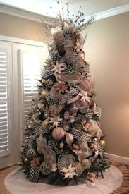 Christmas tree burlap silver gold white