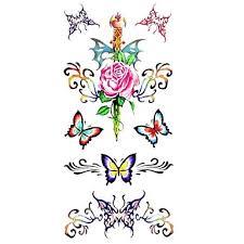 099 1ks Waterproof Dámské Dočasné Tetování Zpět Zápěstí Krk Tetování Motýl Růže Sbírek Těla Tetování 185 85 Cm