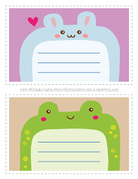 Printable Note Cards Cute Printable Animal Notecards For Kids Rabbit Frog Coloring