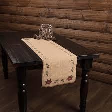 poinsettia stenciled jute burlap table